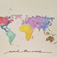 DIY: aquarell Weltkarte/ watercolor world map