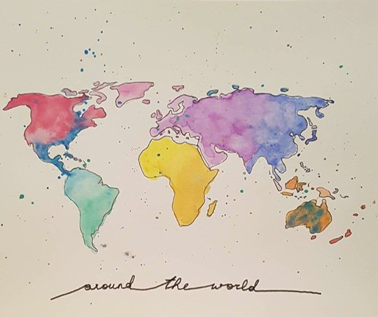 DIY: aquarell Weltkarte/ watercolor world map – just|an ...